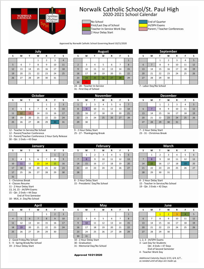 Revised District Calendar 10-23-20