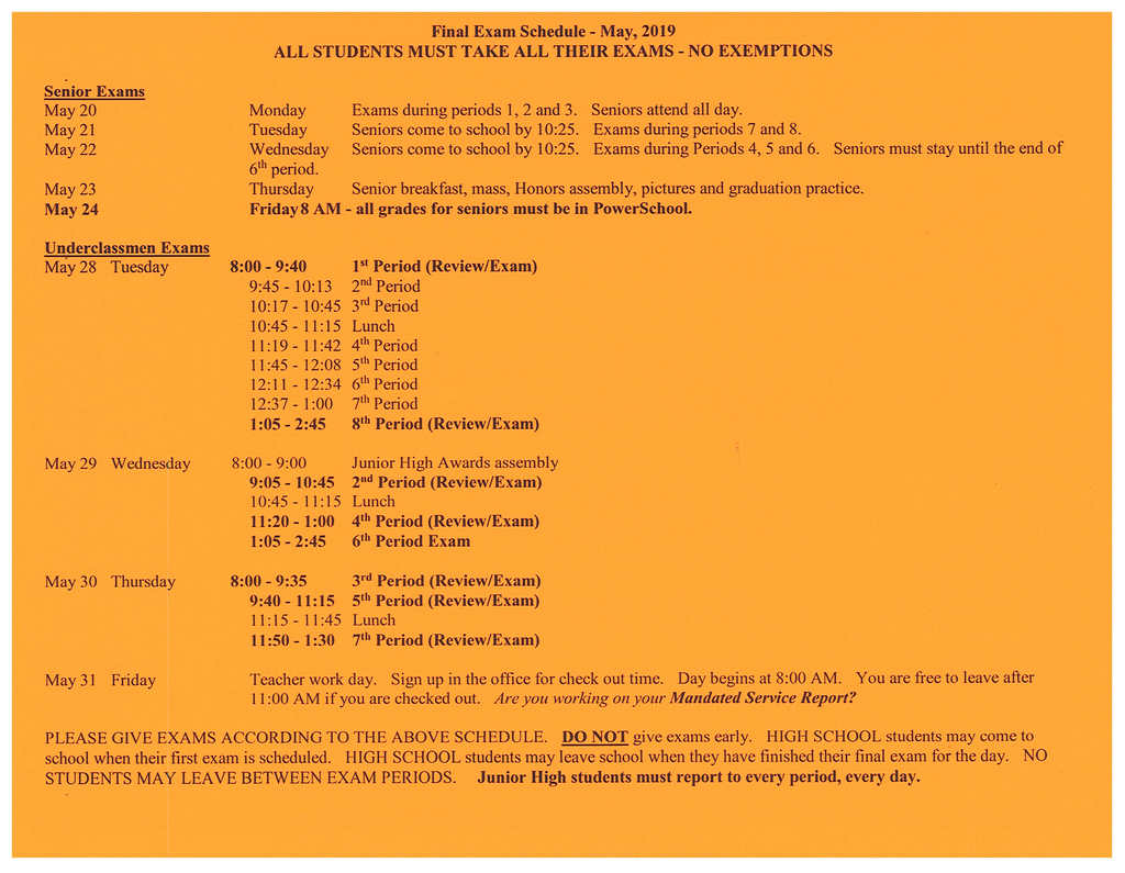 2019 High School/Junior High Exam Schedule